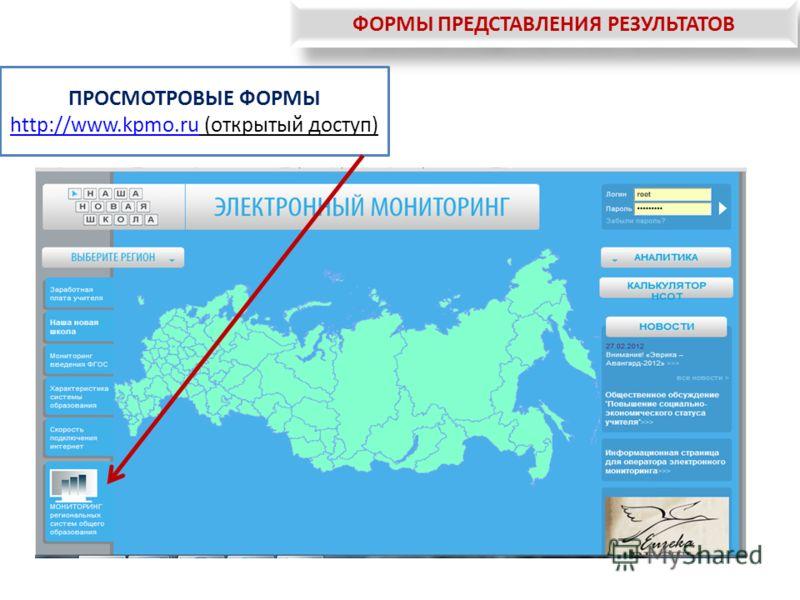 ФОРМЫ ПРЕДСТАВЛЕНИЯ РЕЗУЛЬТАТОВ ПРОСМОТРОВЫЕ ФОРМЫ http://www.kpmo.ru (открытый доступ) http://www.kpmo.ru