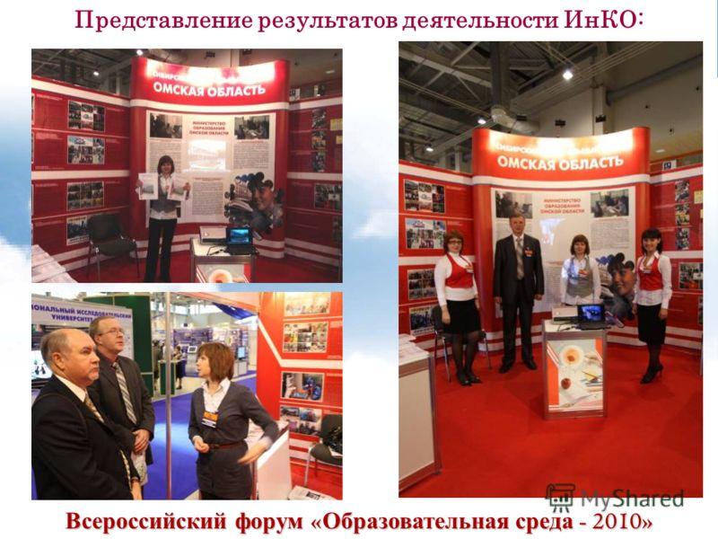 Всероссийский форум « Образовательная среда - 2010» Представление результатов деятельности ИнКО:
