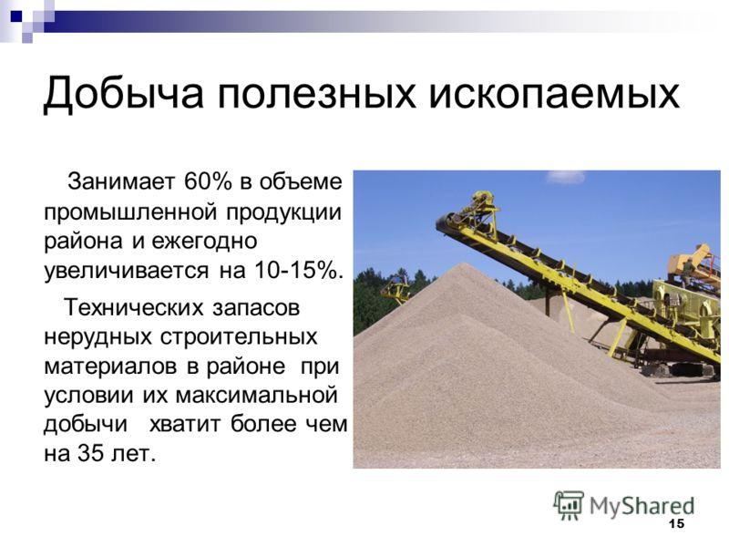 Добыча полезных ископаемых Занимает 60% в объеме промышленной продукции района и ежегодно увеличивается на 10-15%. Технических запасов нерудных строительных материалов в районе при условии их максимальной добычи хватит более чем на 35 лет. 15
