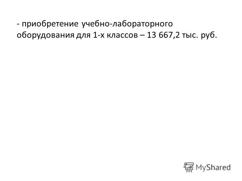 - приобретение учебно-лабораторного оборудования для 1-х классов – 13 667,2 тыс. руб.