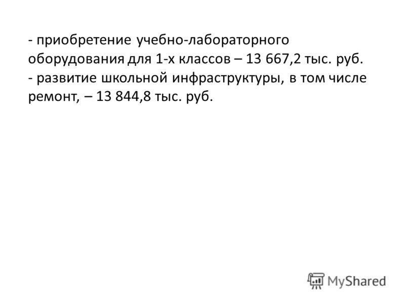 - приобретение учебно-лабораторного оборудования для 1-х классов – 13 667,2 тыс. руб. - развитие школьной инфраструктуры, в том числе ремонт, – 13 844,8 тыс. руб.