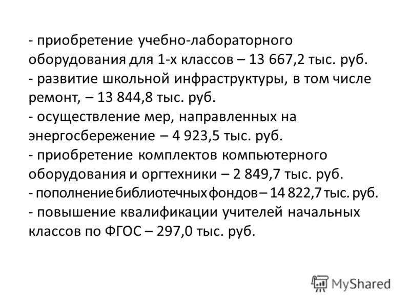 - приобретение учебно-лабораторного оборудования для 1-х классов – 13 667,2 тыс. руб. - развитие школьной инфраструктуры, в том числе ремонт, – 13 844,8 тыс. руб. - осуществление мер, направленных на энергосбережение – 4 923,5 тыс. руб. - приобретени