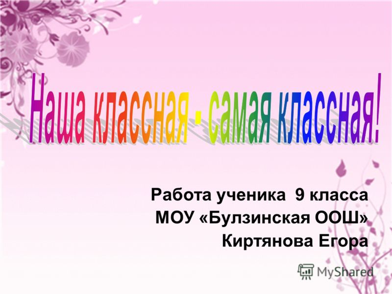 Работа ученика 9 класса МОУ «Булзинская ООШ» Киртянова Егора