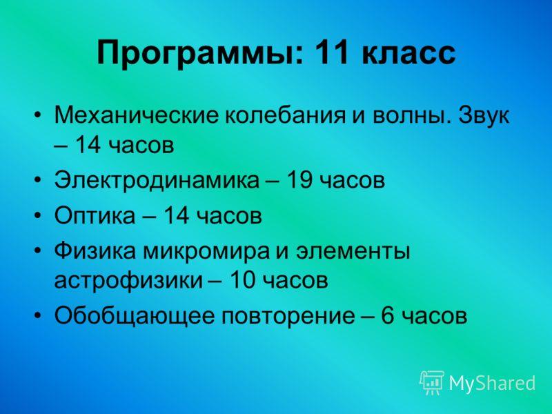 Программы: 11 класс Механические колебания и волны. Звук – 14 часов Электродинамика – 19 часов Оптика – 14 часов Физика микромира и элементы астрофизики – 10 часов Обобщающее повторение – 6 часов