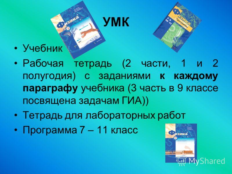 УМК Учебник Рабочая тетрадь (2 части, 1 и 2 полугодия) с заданиями к каждому параграфу учебника (3 часть в 9 классе посвящена задачам ГИА)) Тетрадь для лабораторных работ Программа 7 – 11 класс