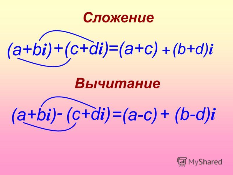 (а+b i ) Вычитание =(a+c)+ (c+d i ) Сложение (b+d) + i (а+b i ) - (c+d i ) =(a-c) +(b-d) i