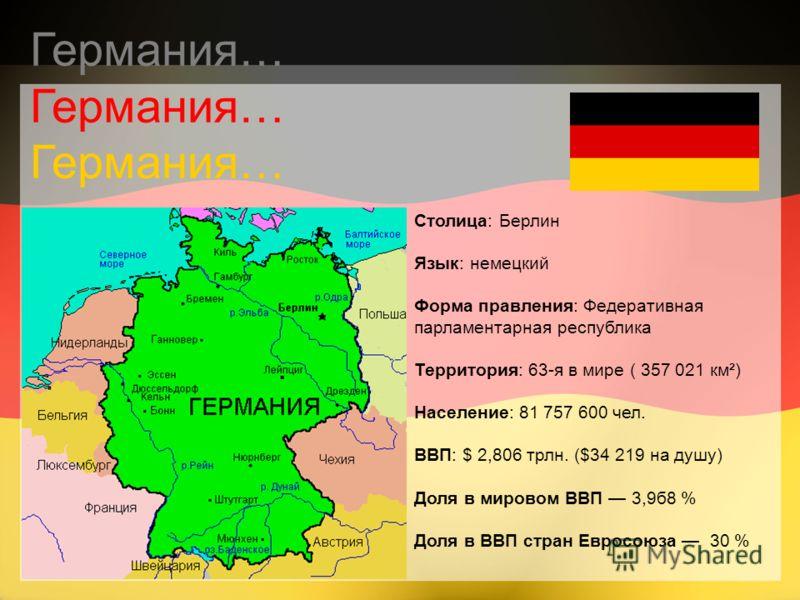 Столица: Берлин Язык: немецкий Форма правления: Федеративная парламентарная республика Территория: 63-я в мире ( 357 021 км²) Население: 81 757 600 чел. ВВП: $ 2,806 трлн. ($34 219 на душу) Доля в мировом ВВП 3,9б8 % Доля в ВВП стран Евросоюза 30 % Г