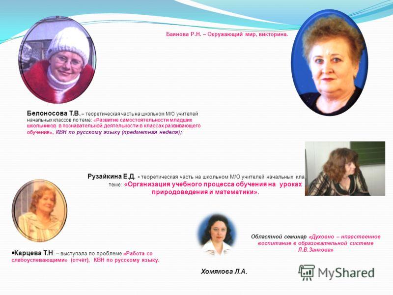 Карцева Т.Н. – выступала по проблеме «Работа со слабоуспевающими» (отчёт), КВН по русскому языку. Рузайкина Е.Д. - теоретическая часть на школьном М/О