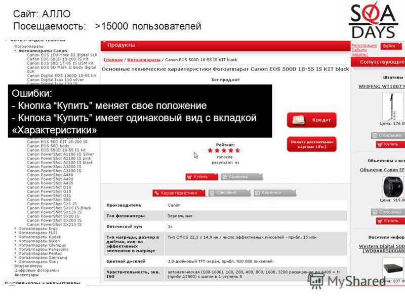 Сайт: АЛЛО Посещаемость: >15000 пользователей Ошибки: - Кнопка Купить меняет свое положение - Кнпока Купить имеет одинаковый вид с вкладкой «Характеристики»