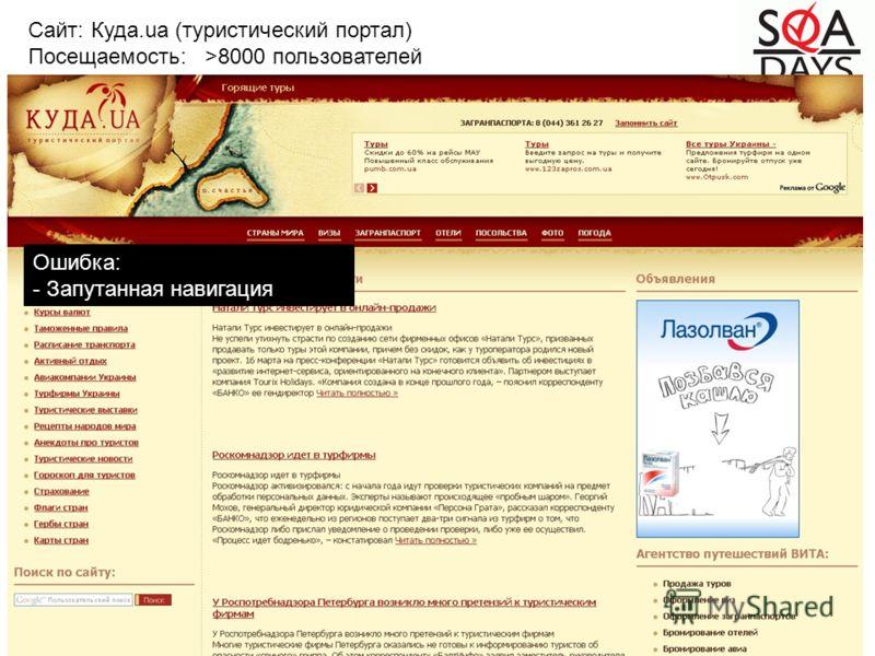 Ошибка: - Запутанная навигация Сайт: Куда.ua (туристический портал) Посещаемость: >8000 пользователей