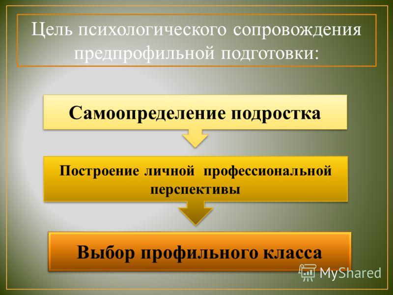 Цель психологического сопровождения предпрофильной подготовки: Самоопределение подростка Построение личной профессиональной перспективы Выбор профильного класса