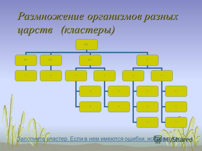 Размножение организмов разных царств (кластеры) Р.О. Р.? ? Р.?. ? Р.? ? ? ? ? ? ? ? ? ? ? ? ? 7 ? ? Заполните кластер. Если в нем имеются ошибки, исправьте его.