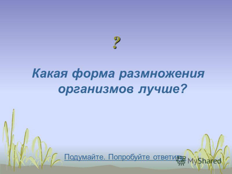 ? Какая форма размножения организмов лучше? Подумайте. Попробуйте ответить.