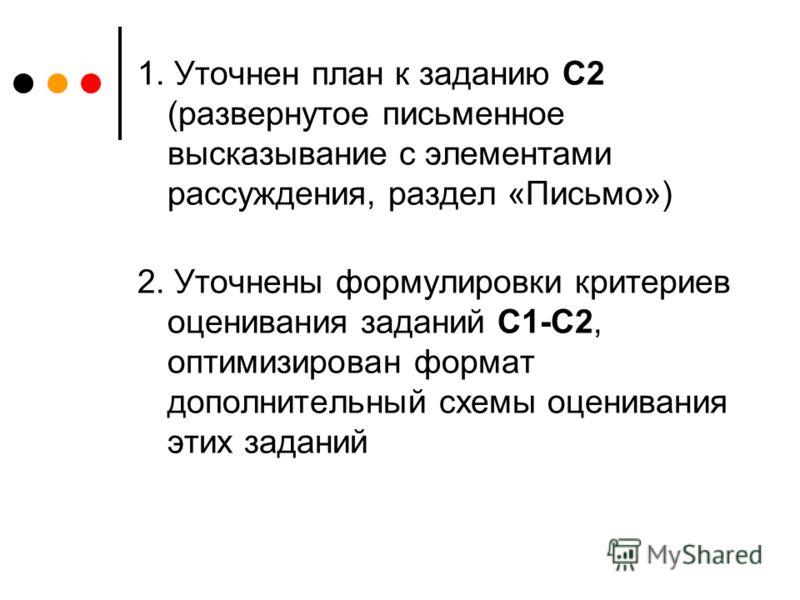 1. Уточнен план к заданию С2 (развернутое письменное высказывание с элементами рассуждения, раздел «Письмо») 2. Уточнены формулировки критериев оценивания заданий С1-С2, оптимизирован формат дополнительный схемы оценивания этих заданий