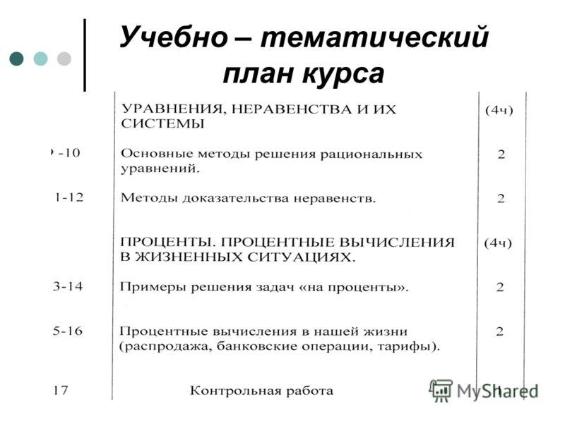 Учебно – тематический план курса