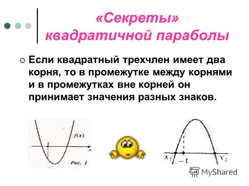 «Секреты» квадратичной параболы. Основная цель – показать некоторые нестандартные приёмы решения задач на основе свойств квадратичной функции и графических соображений.