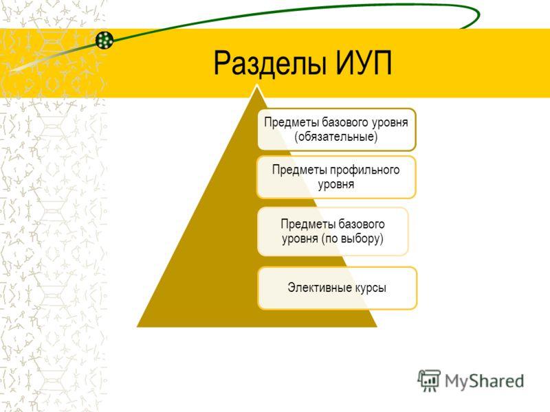 Предметы базового уровня (обязательные) Предметы профильного уровня Предметы базового уровня (по выбору) Элективные курсы Разделы ИУП