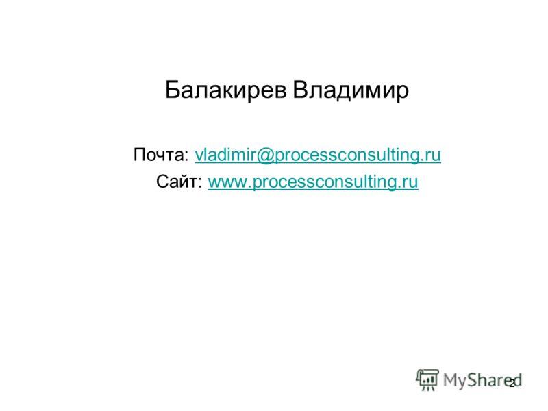 2 Балакирев Владимир Почта: vladimir@processconsulting.ruvladimir@processconsulting.ru Сайт: www.processconsulting.ruwww.processconsulting.ru