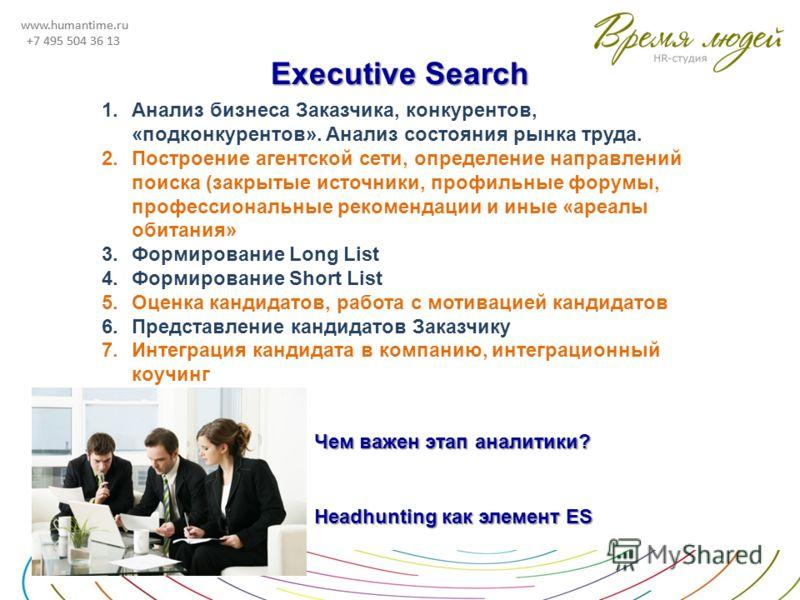 www.humantime.ru +7 495 504 36 13 www.humantime.ru +7 495 504 36 13 Executive Search 1.Анализ бизнеса Заказчика, конкурентов, «подконкурентов». Анализ состояния рынка труда. 2.Построение агентской сети, определение направлений поиска (закрытые источн