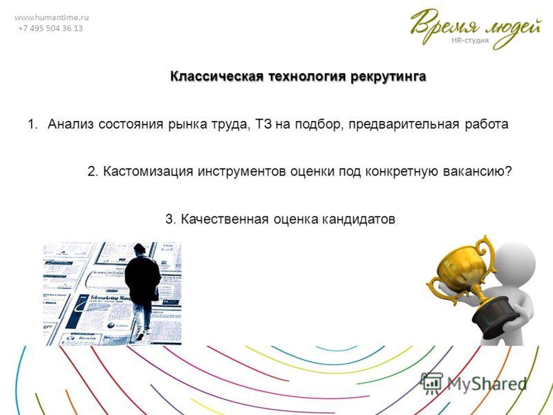 www.humantime.ru +7 495 504 36 13 Классическая технология рекрутинга 1.Анализ состояния рынка труда, ТЗ на подбор, предварительная работа 2. Кастомизация инструментов оценки под конкретную вакансию? 3. Качественная оценка кандидатов