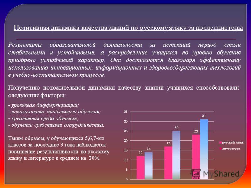 Позитивная динамика качества знаний по русскому языку за последние годы Результаты образовательной деятельности за истекший период стали стабильными и устойчивыми, а распределение учащихся по уровню обучения приобрело устойчивый характер. Они достига