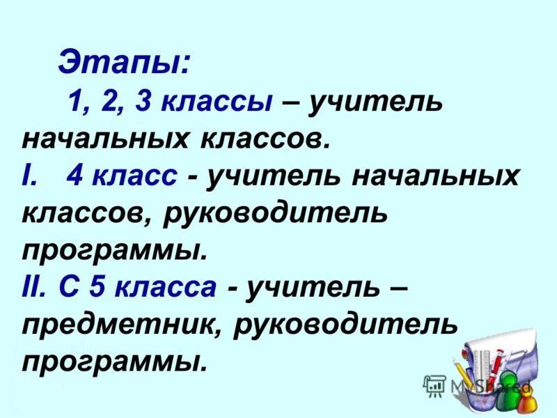 Этапы: 1, 2, 3 классы – учитель начальных классов. I. 4 класс - учитель начальных классов, руководитель программы. II. С 5 класса - учитель – предметник, руководитель программы.