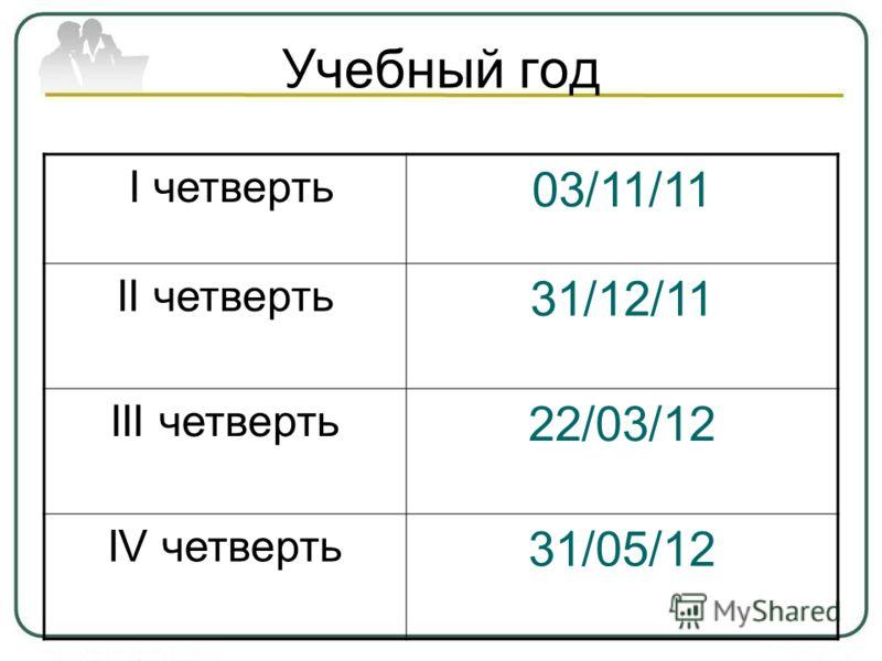 Учебный год I четверть 03/11/11 II четверть 31/12/11 III четверть 22/03/12 IV четверть 31/05/12