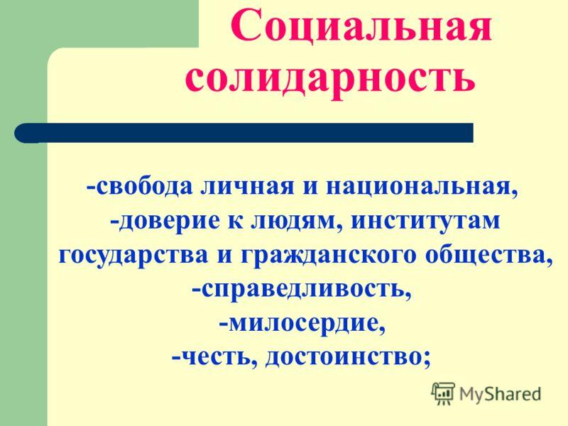 Социальная солидарность -свобода личная и национальная, -доверие к людям, институтам государства и гражданского общества, -справедливость, -милосердие, -честь, достоинство;