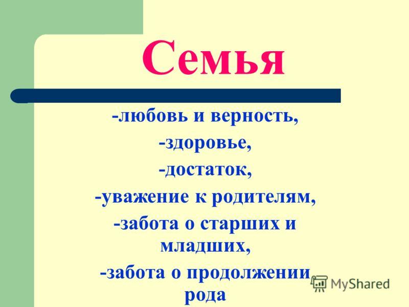 -любовь и верность, -здоровье, -достаток, -уважение к родителям, -забота о старших и младших, -забота о продолжении рода Семья