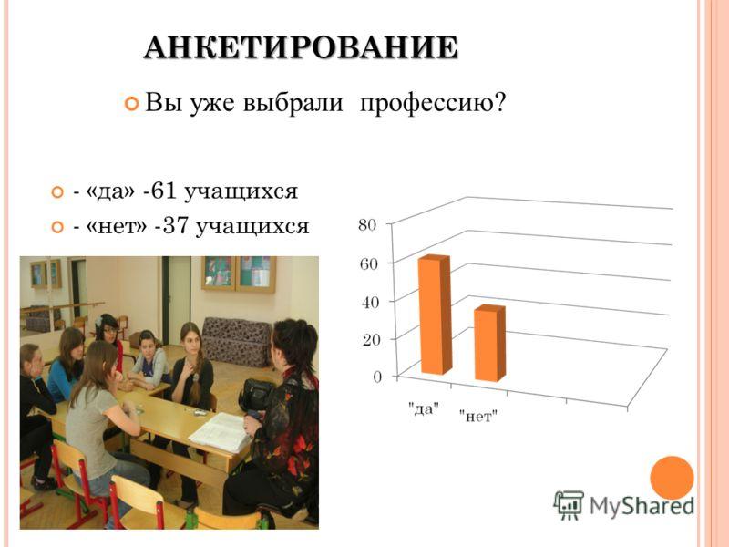 АНКЕТИРОВАНИЕ - «да» -61 учащихся - «нет» -37 учащихся Вы уже выбрали профессию?