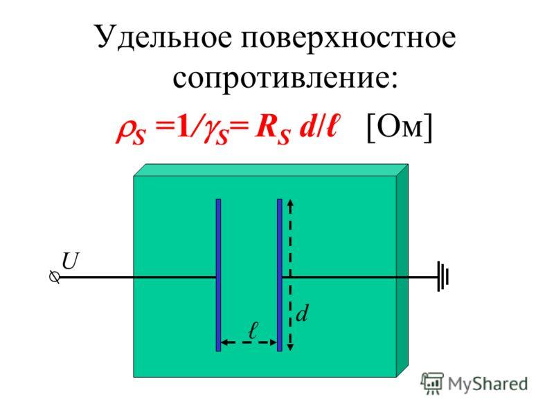 Удельное поверхностное сопротивление: S =1/ S = R S d/ [Ом] d U