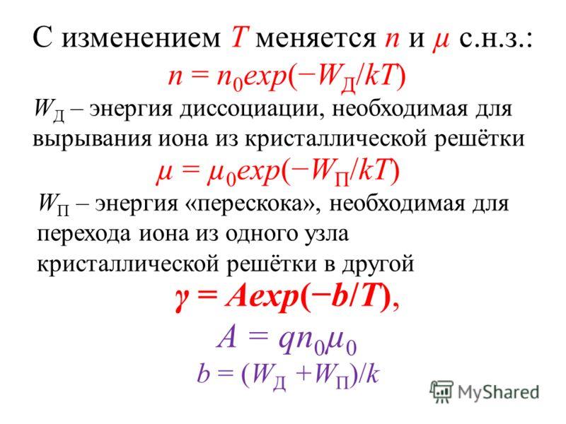 γ = Aexp(b/T), A = qn 0 µ 0 b = (W Д +W П )/k С изменением Т меняется n и µ с.н.з.: n = n 0 exp(W Д /kT) W Д – энергия диссоциации, необходимая для вырывания иона из кристаллической решётки µ = µ 0 exp(W П /kT) W П – энергия «перескока», необходимая