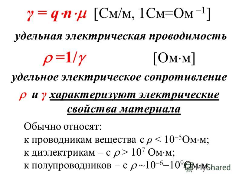 γ = q n См/м, 1См=Ом 1 удельная электрическая проводимость =1/ [Ом м] удельное электрическое сопротивление и γ характеризуют электрические свойства материала Обычно относят: к проводникам вещества с ρ < 10 5 Ом м; к диэлектрикам – с > 10 7 Ом м; к по
