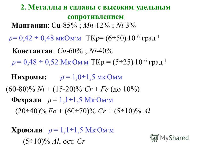 2. Металлы и сплавы с высоким удельным сопротивлением Манганин: Cu-85% ; Mn-12% ; Ni-3% ρ= 0,42 ÷ 0,48 мкОм·м ТКρ= (6÷50). 10 -6 град -1 Константан: Cu-60% ; Ni-40% ρ = 0,48 ÷ 0,52 Mк. Ом. м ТКρ = (5÷25). 10 -6 град -1 Нихромы: ρ = 1,0÷1,5 мк. Омм (6
