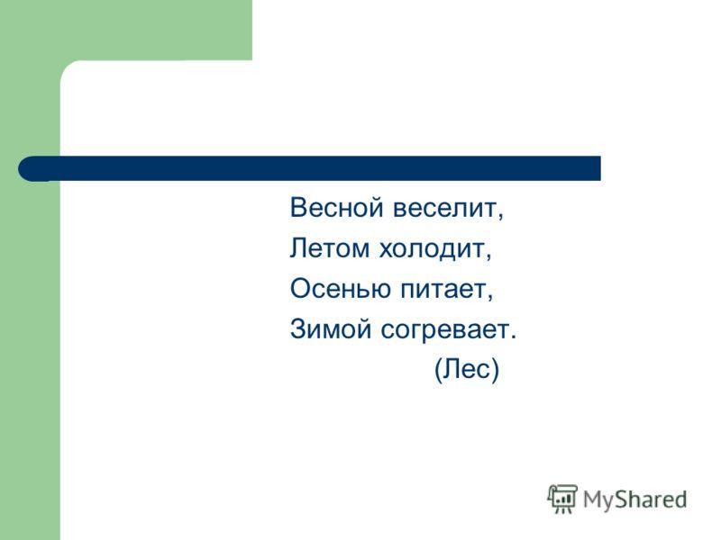 Весной веселит, Летом холодит, Осенью питает, Зимой согревает. (Лес)