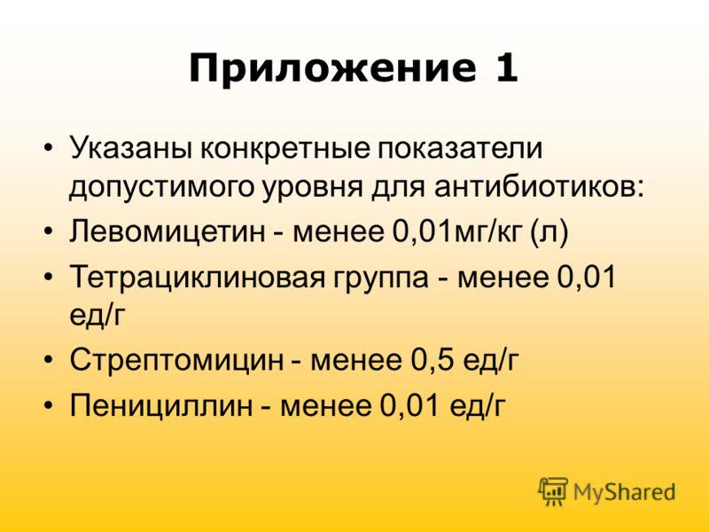 Приложение 1 Указаны конкретные показатели допустимого уровня для антибиотиков: Левомицетин - менее 0,01мг/кг (л) Тетрациклиновая группа - менее 0,01 ед/г Стрептомицин - менее 0,5 ед/г Пенициллин - менее 0,01 ед/г