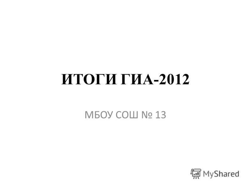 ИТОГИ ГИА-2012 МБОУ СОШ 13