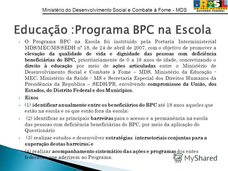 Ministério do Desenvolvimento Social e Combate à Fome - MDS O Programa BPC na Escola foi instituído pela Portaria Interministerial MDS/MEC/MS/SEDH nº 18, de 24 de abril de 2007, com o objetivo de promover a elevação da qualidade de vida e dignidade d