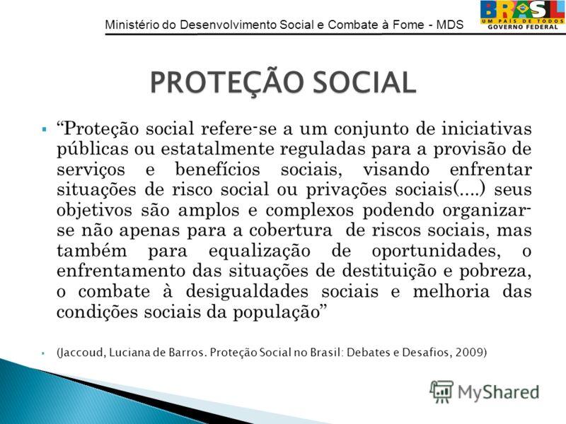 Ministério do Desenvolvimento Social e Combate à Fome - MDS Proteção social refere-se a um conjunto de iniciativas públicas ou estatalmente reguladas para a provisão de serviços e benefícios sociais, visando enfrentar situações de risco social ou pri