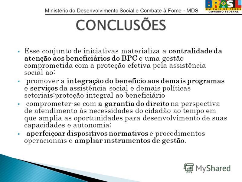 Ministério do Desenvolvimento Social e Combate à Fome - MDS Esse conjunto de iniciativas materializa a centralidade da atenção aos beneficiários do BPC e uma gestão comprometida com a proteção efetiva pela assistência social ao: promover a integração
