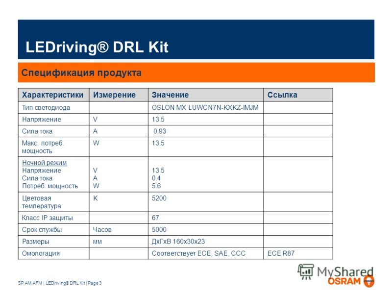 SP AM AFM | LEDriving® DRL Kit | Page 3 LEDriving® DRL Kit Спецификация продукта ХарактеристикиИзмерениеЗначениеСсылка Тип светодиода OSLON MX LUWCN7N-KXKZ-IMJM Напряжение V13.5 Сила тока A 0.93 Макс. потреб. мощность W13.5 Ночной режим Напряжение Си
