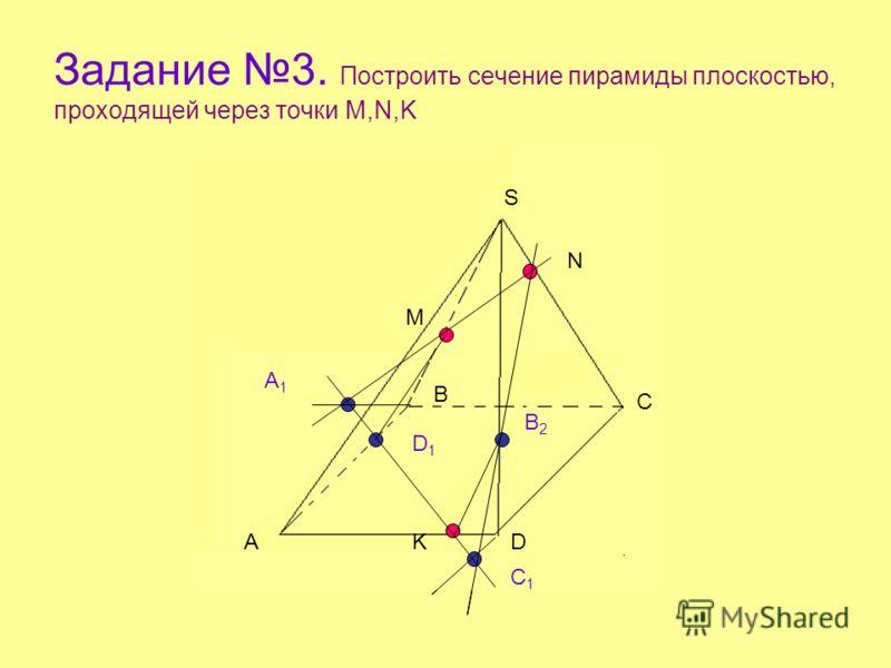 Задание 3. Построить сечение пирамиды плоскостью, проходящей через точки M,N,K А В С D S M N K A1A1 B2B2 C1C1 D1D1 А В С D S M N K A1A1 B2B2 C1C1 D1D1 А В С D S M N K A1A1 B2B2 C1C1 D1D1
