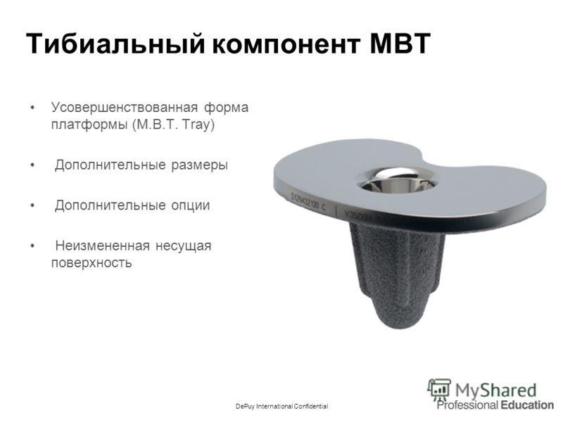 DePuy International Confidential Тибиальный компонент MBT Усовершенствованная форма платформы (M.B.T. Tray) Дополнительные размеры Дополнительные опции Неизмененная несущая поверхность