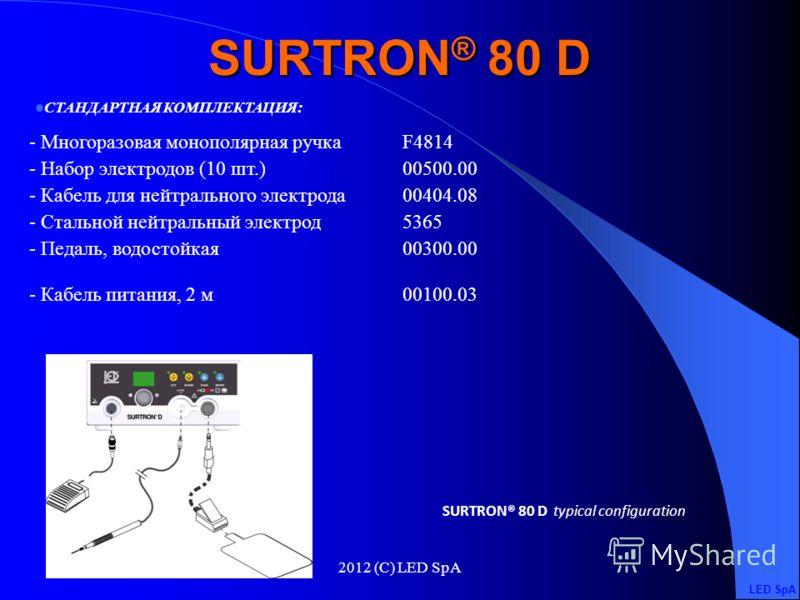 2012 (C) LED SpA Максимальная выходная мощность CUT80 W – 400 Ohm Максимальная выходная мощность CUT / COAG 1 60 W – 400 Ohm Максимальная выходная мощность CUT / COAG 2 50 W – 400 Ohm Максимальная выходная мощность COAG20 W – 600 Ohm Рабочая частота7