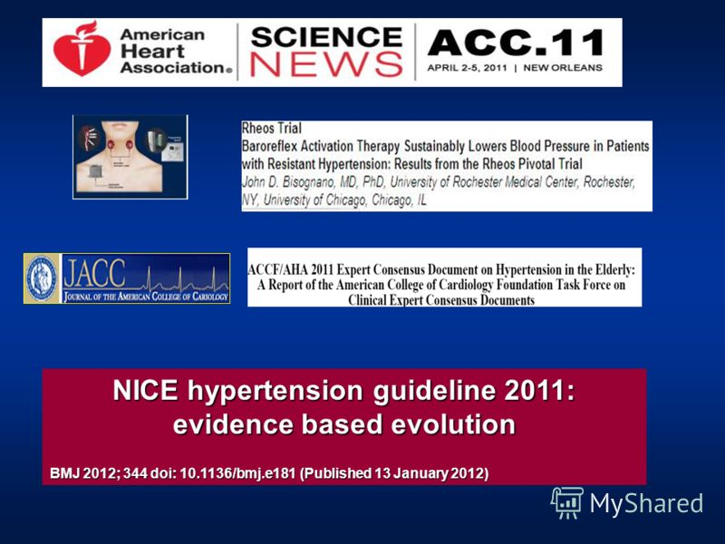 NICE hypertension guideline 2011: evidence based evolution BMJ 2012; 344 doi: 10.1136/bmj.e181 (Published 13 January 2012)