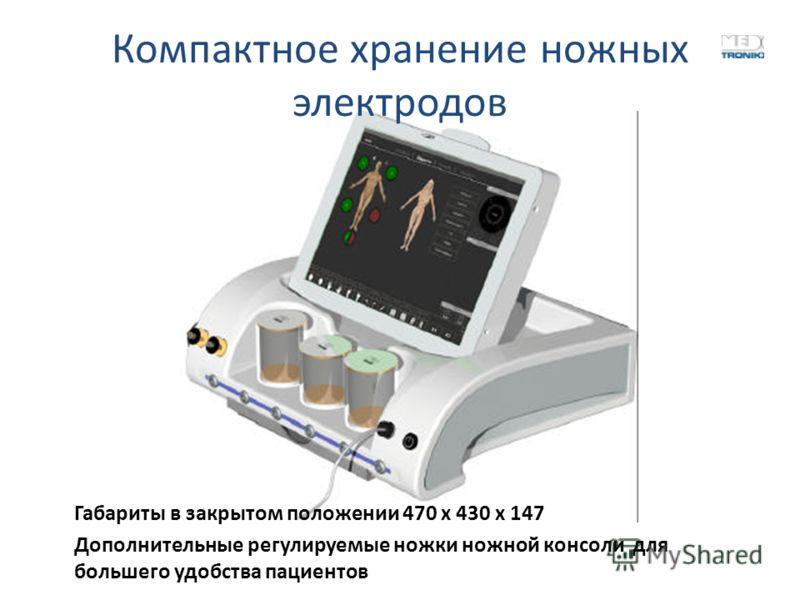 Компактное хранение ножных электродов Габариты в закрытом положении 470 х 430 х 147 Дополнительные регулируемые ножки ножной консоли для большего удобства пациентов