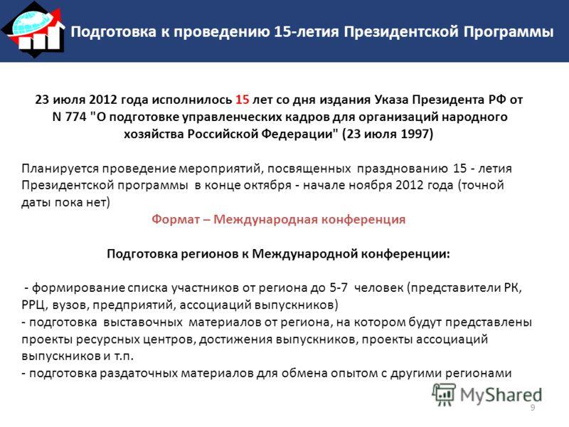 Подготовка к проведению 15-летия Президентской Программы 23 июля 2012 года исполнилось 15 лет со дня издания Указа Президента РФ от N 774
