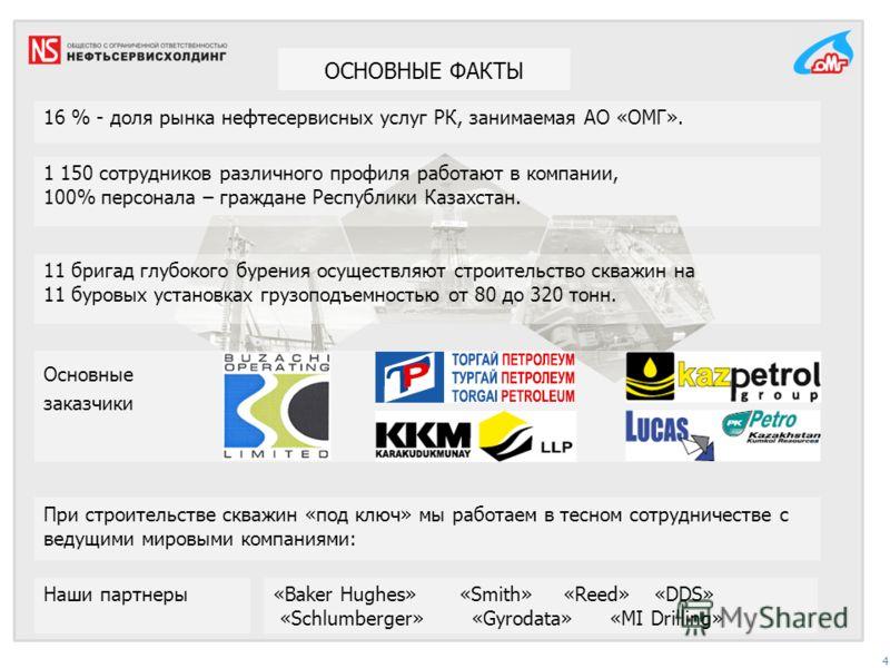 ОСНОВНЫЕ ФАКТЫ 4 Основные заказчики 16 % - доля рынка нефтесервисных услуг РК, занимаемая АО «ОМГ». 1 150 сотрудников различного профиля работают в компании, 100% персонала – граждане Республики Казахстан. При строительстве скважин «под ключ» мы рабо