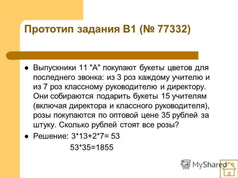 Прототип задания B1 ( 77332) Выпускники 11