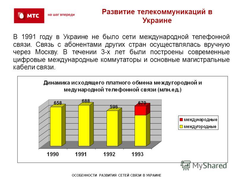 Развитие телекоммуникаций в Украине В 1991 году в Украине не было сети международной телефонной связи. Связь с абонентами других стран осуществлялась вручную через Москву. В течении 3-х лет были построены современные цифровые международные коммутатор